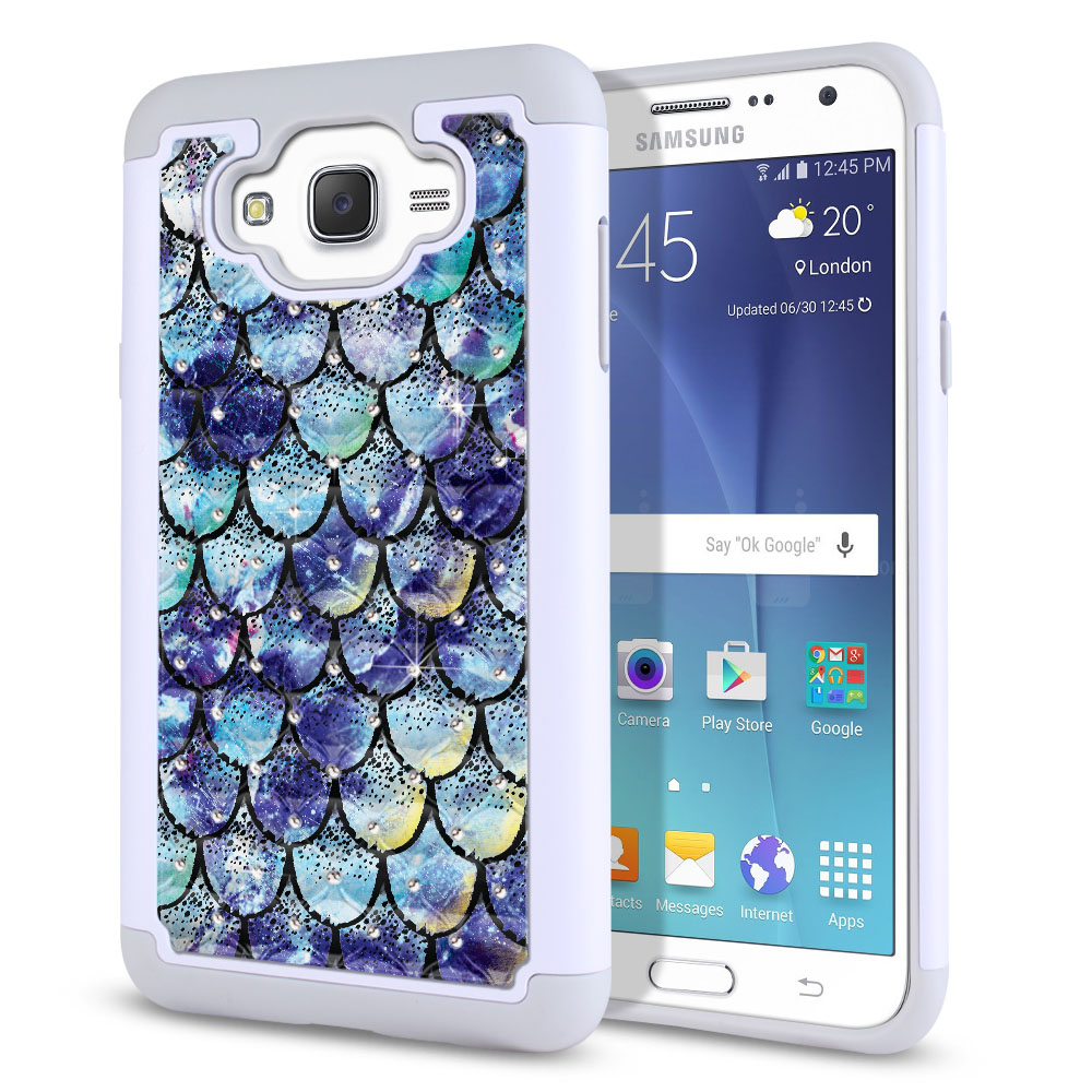 Samsung Galaxy J7 J700 White/Grey Hybrid Total Defense Some Rhinestones Purple Mermaid Scales Protector Cover Case