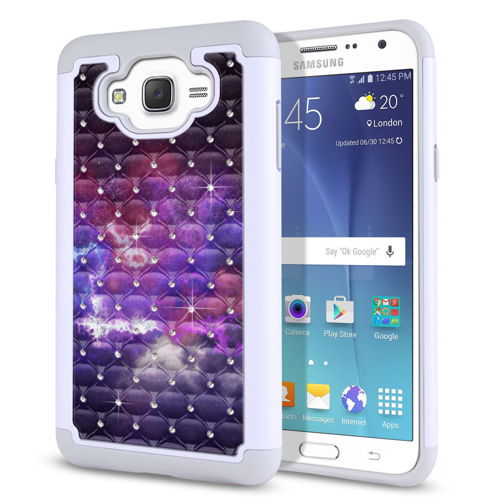 Samsung Galaxy J7 J700 White/Grey Hybrid Total Defense Some Rhinestones Purple Nebula Space Protector Cover Case