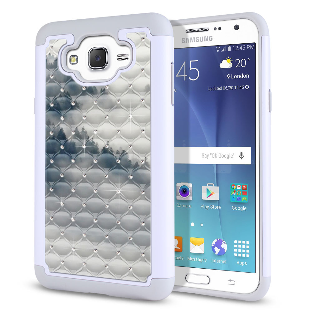 Samsung Galaxy J7 J700 White/Grey Hybrid Total Defense Some Rhinestones Winter Trees Protector Cover Case