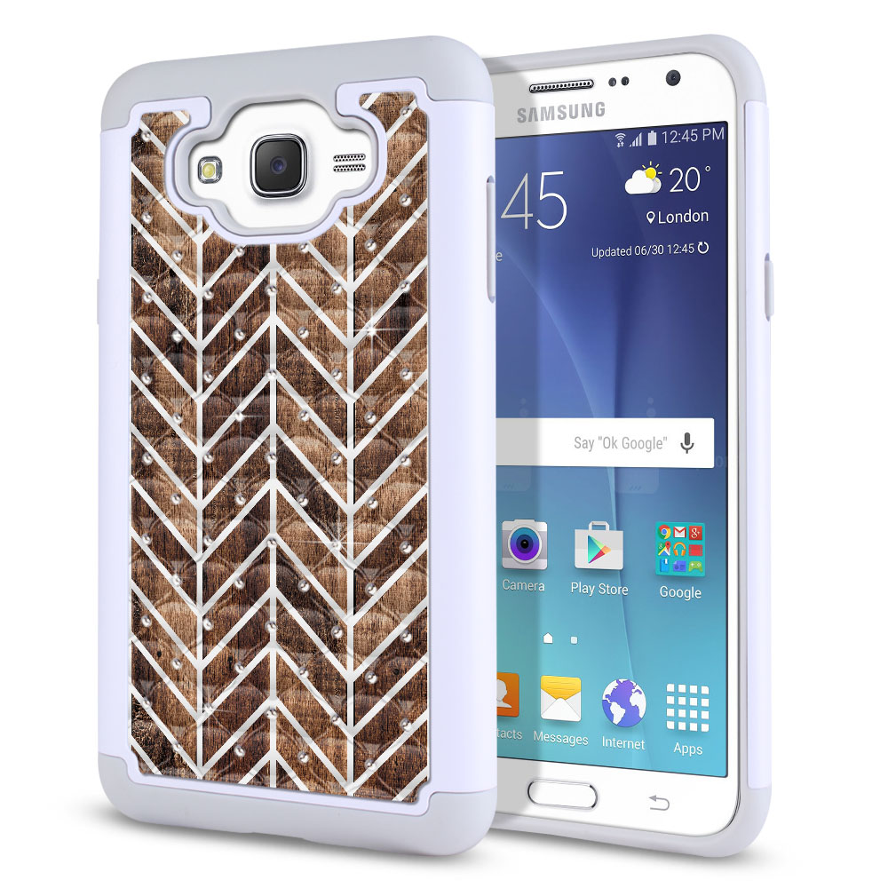 Samsung Galaxy J7 J700 White/Grey Hybrid Total Defense Some Rhinestones Modern Chevron Wood Protector Cover Case