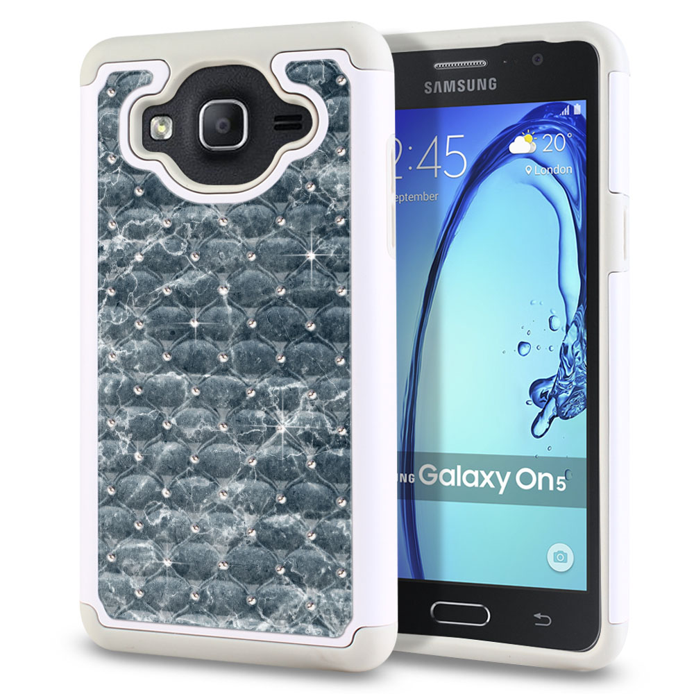 Samsung Galaxy On5 G500-Samsung Galaxy On5 G550 White/Grey Hybrid Total Defense Some Rhinestones Blue Stone Marble Protector Cover Case