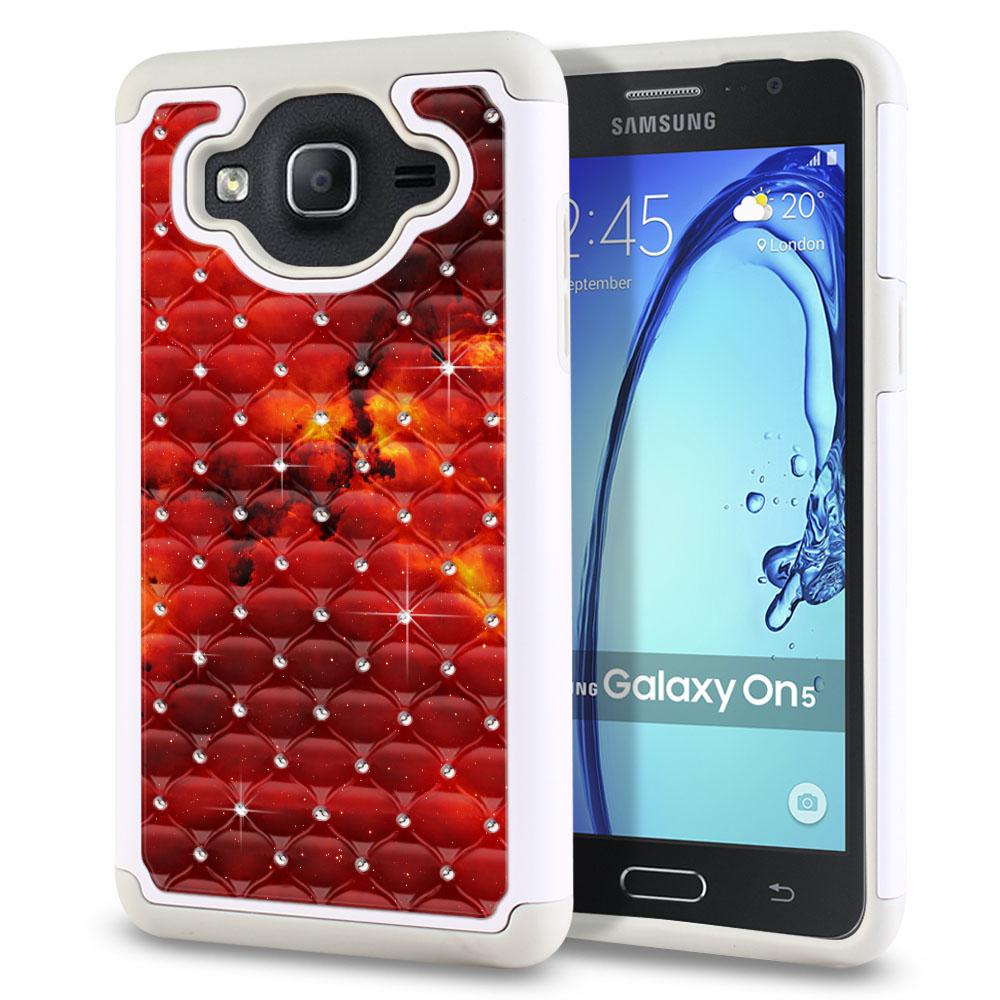 Samsung Galaxy On5 G500-Samsung Galaxy On5 G550 White/Grey Hybrid Total Defense Some Rhinestones Fiery Galaxy Protector Cover Case