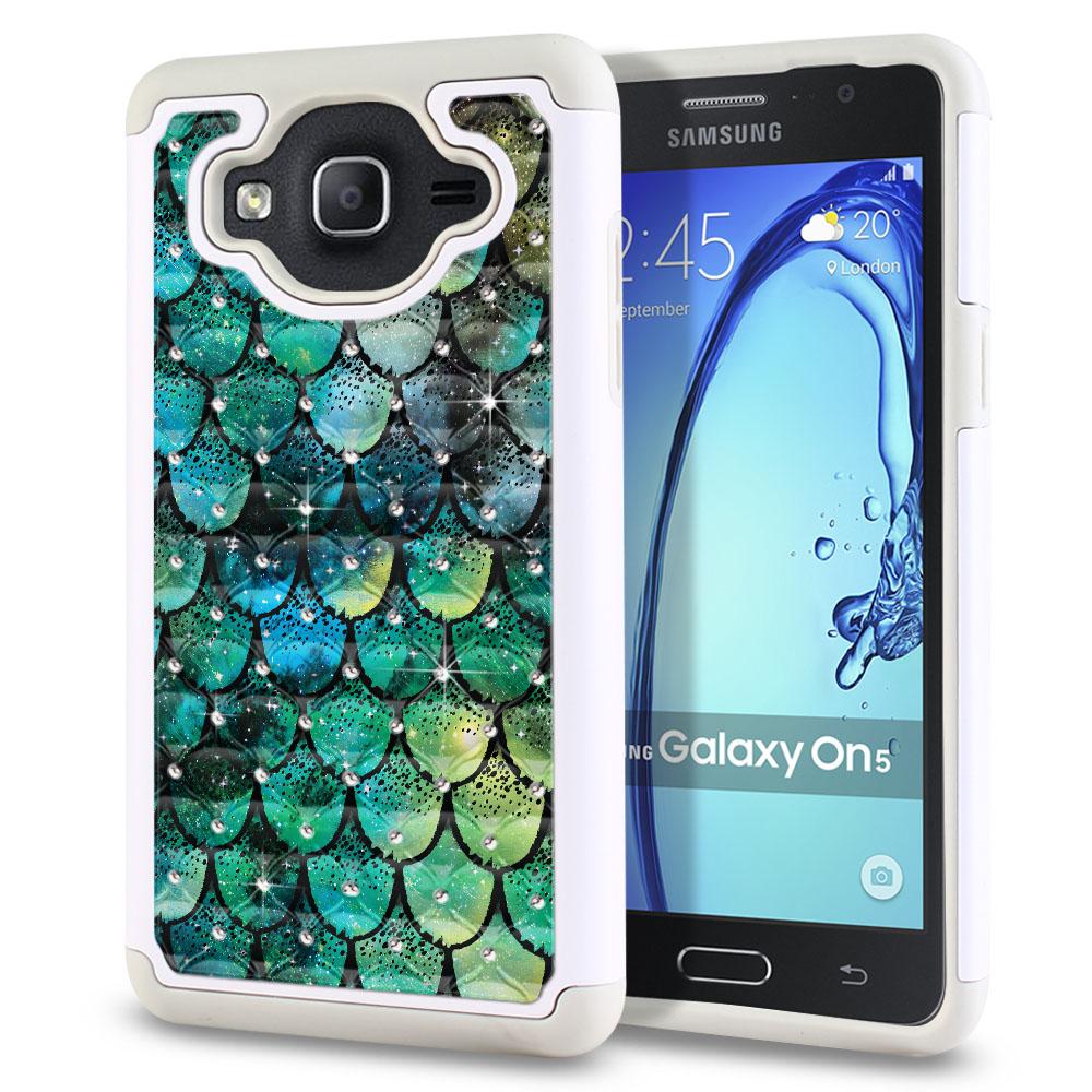 Samsung Galaxy On5 G500-Samsung Galaxy On5 G550 White/Grey Hybrid Total Defense Some Rhinestones Green Mermaid Scales Protector Cover Case