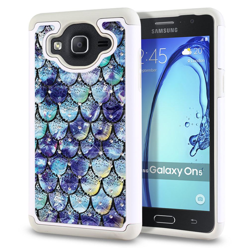 Samsung Galaxy On5 G500-Samsung Galaxy On5 G550 White/Grey Hybrid Total Defense Some Rhinestones Purple Mermaid Scales Protector Cover Case