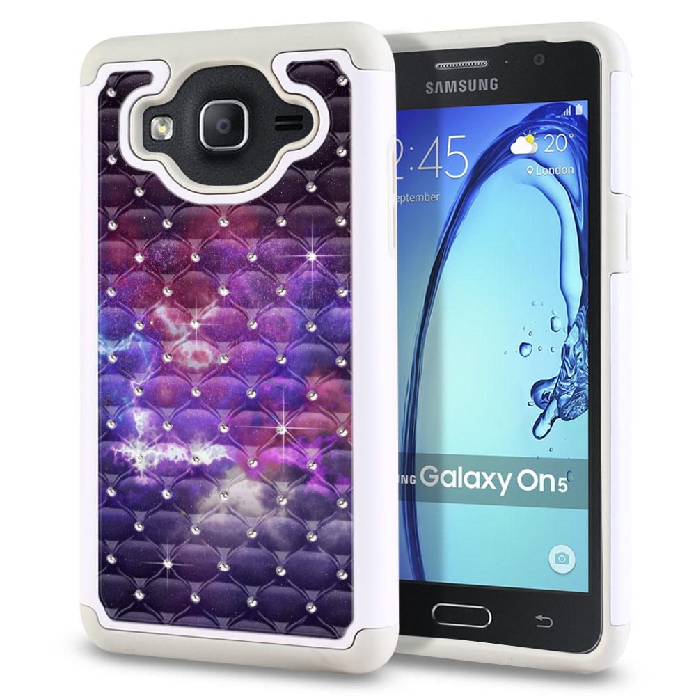 Samsung Galaxy On5 G500-Samsung Galaxy On5 G550 White/Grey Hybrid Total Defense Some Rhinestones Purple Nebula Space Protector Cover Case