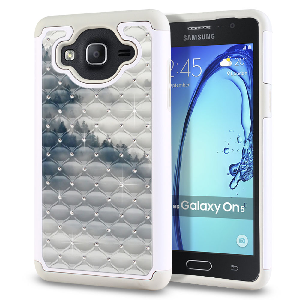 Samsung Galaxy On5 G500-Samsung Galaxy On5 G550 White/Grey Hybrid Total Defense Some Rhinestones Winter Trees Protector Cover Case
