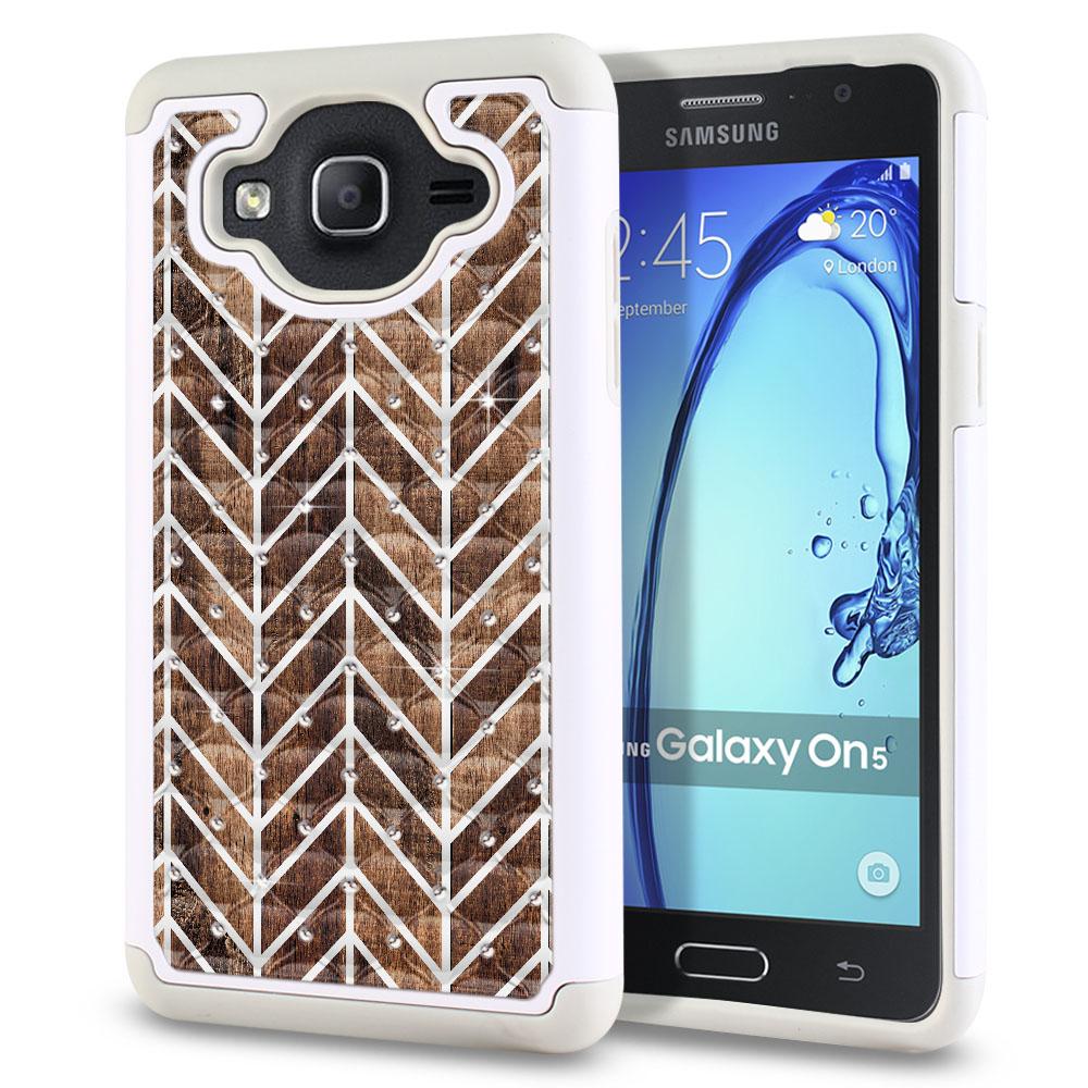 Samsung Galaxy On5 G500-Samsung Galaxy On5 G550 White/Grey Hybrid Total Defense Some Rhinestones Modern Chevron Wood Protector Cover Case