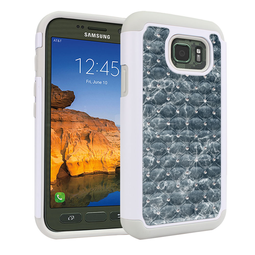 Samsung Galaxy S7 Active G891 White/Grey Hybrid Total Defense Some Rhinestones Blue Stone Marble Protector Cover Case