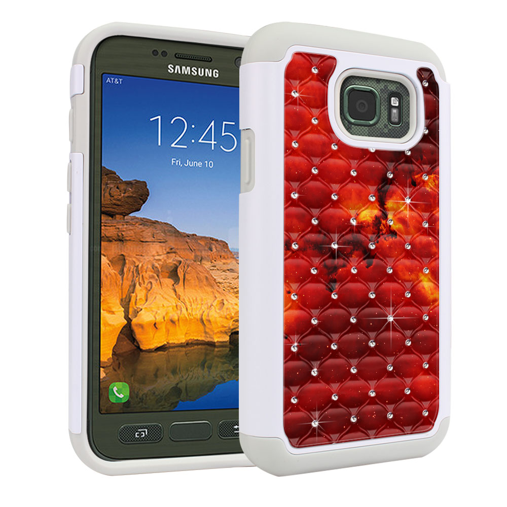 Samsung Galaxy S7 Active G891 White/Grey Hybrid Total Defense Some Rhinestones Fiery Galaxy Protector Cover Case