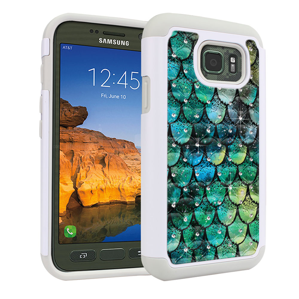 Samsung Galaxy S7 Active G891 White/Grey Hybrid Total Defense Some Rhinestones Green Mermaid Scales Protector Cover Case
