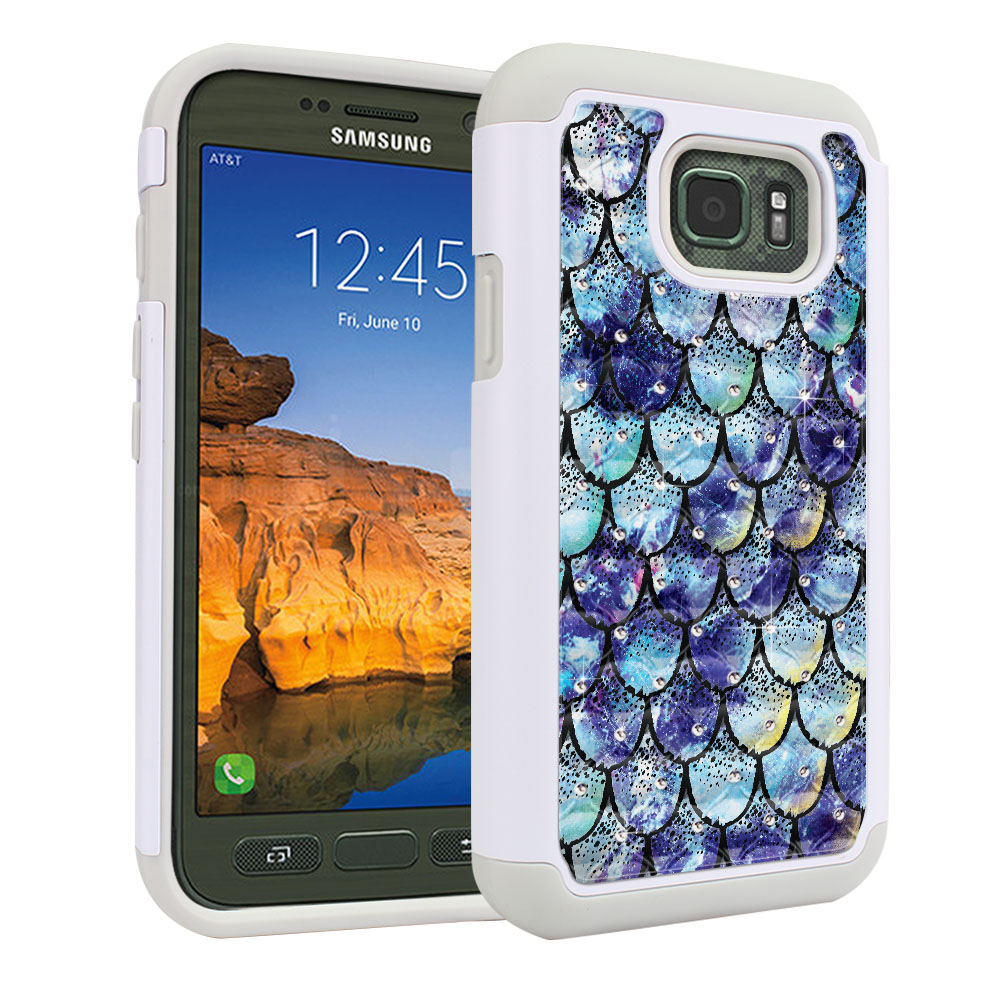 Samsung Galaxy S7 Active G891 White/Grey Hybrid Total Defense Some Rhinestones Purple Mermaid Scales Protector Cover Case