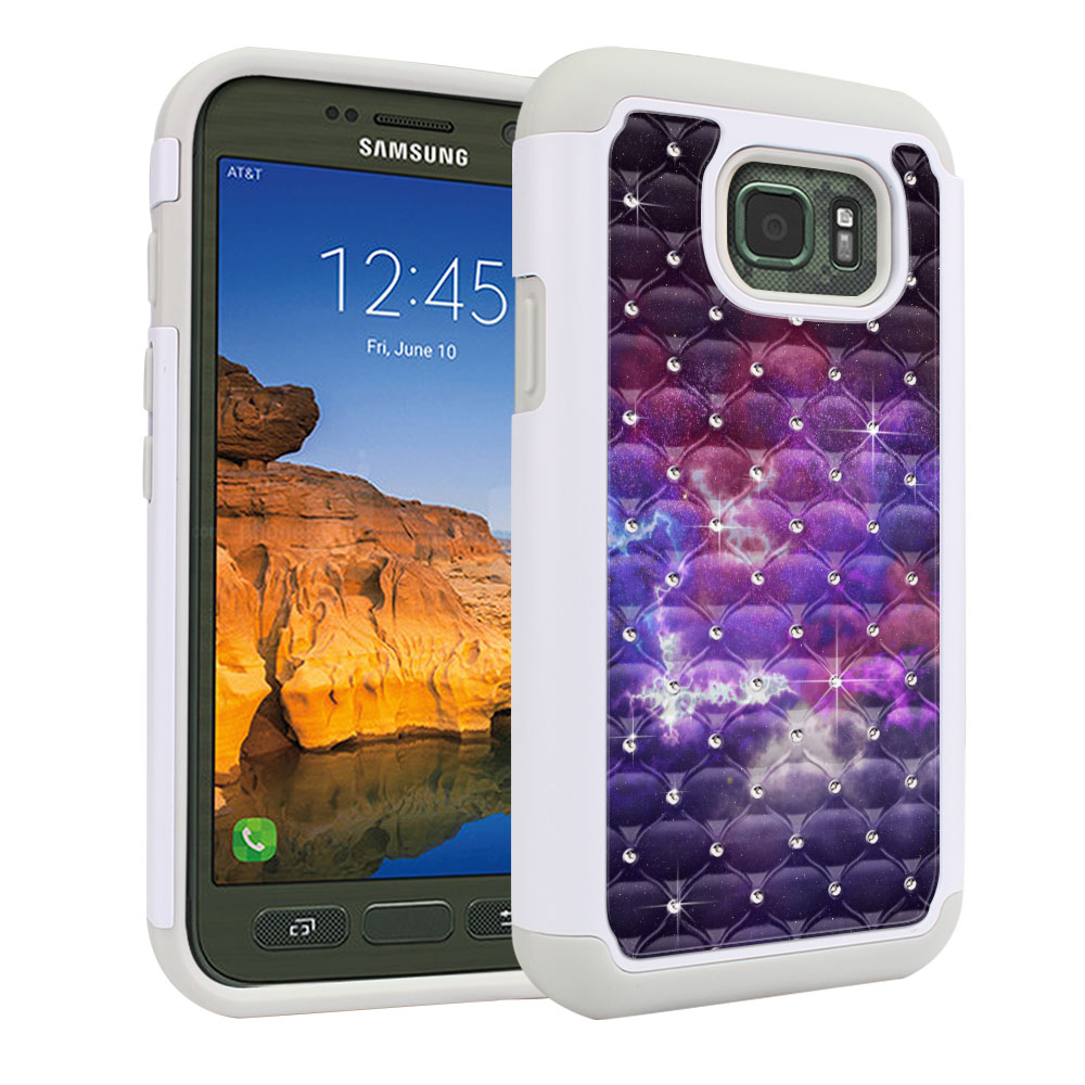 Samsung Galaxy S7 Active G891 White/Grey Hybrid Total Defense Some Rhinestones Purple Nebula Space Protector Cover Case