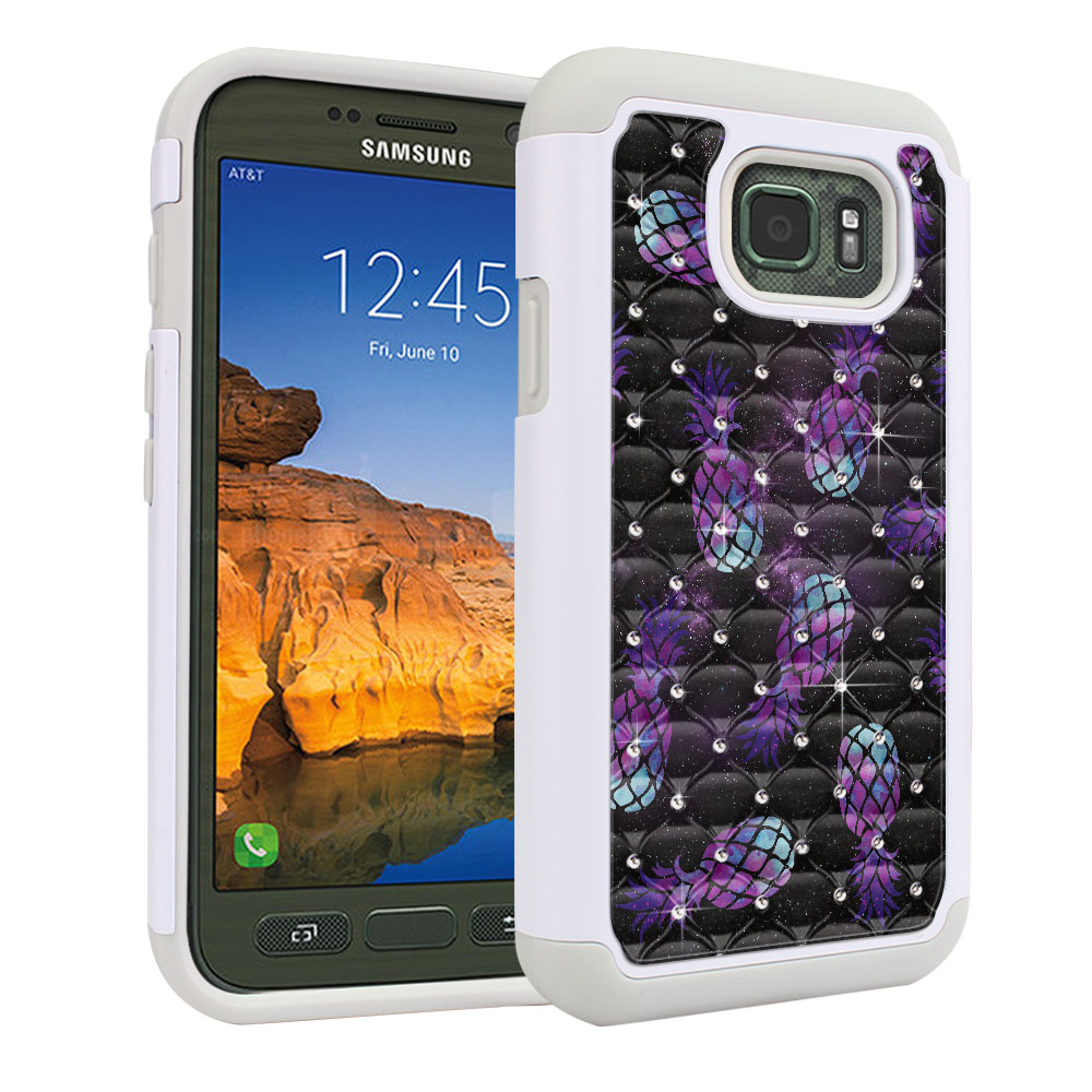 Samsung Galaxy S7 Active G891 White/Grey Hybrid Total Defense Some Rhinestones Purple Pineapples Galaxy Protector Cover Case