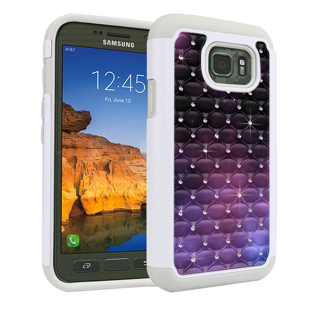 Samsung Galaxy S7 Active G891 White/Grey Hybrid Total Defense Some Rhinestones Purple Space Stars Protector Cover Case
