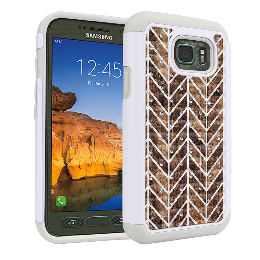 Samsung Galaxy S7 Active G891 White/Grey Hybrid Total Defense Some Rhinestones Modern Chevron Wood Protector Cover Case