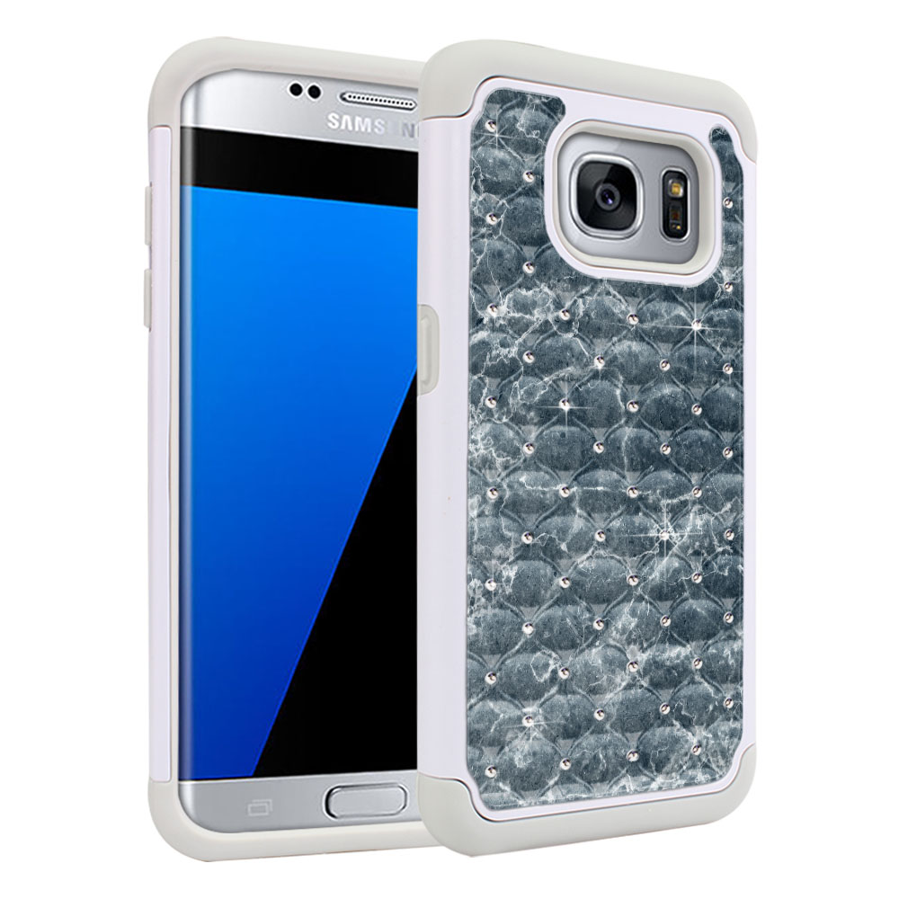 Samsung Galaxy S7 Edge G935 White/Grey Hybrid Total Defense Some Rhinestones Blue Stone Marble Protector Cover Case