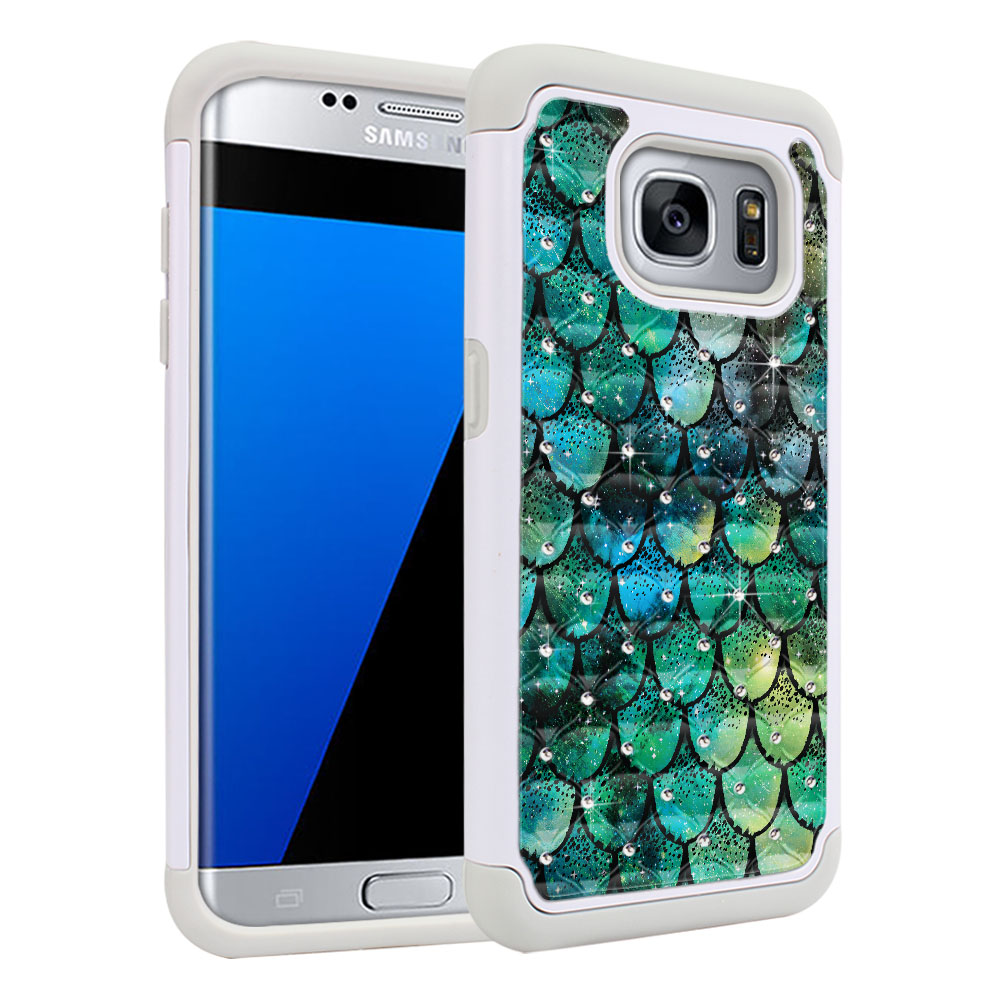 Samsung Galaxy S7 Edge G935 White/Grey Hybrid Total Defense Some Rhinestones Green Mermaid Scales Protector Cover Case
