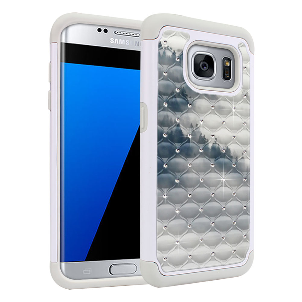 Samsung Galaxy S7 Edge G935 White/Grey Hybrid Total Defense Some Rhinestones Winter Trees Protector Cover Case