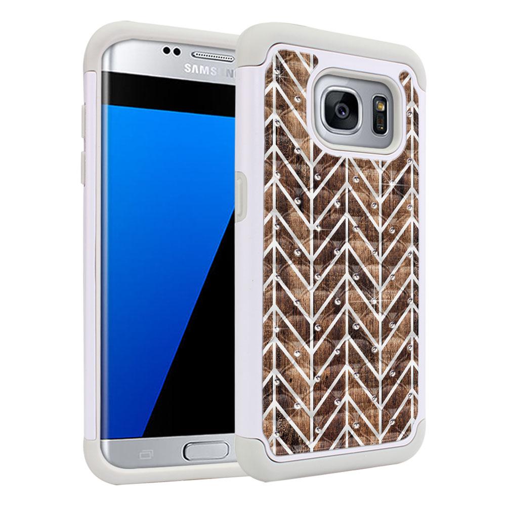 Samsung Galaxy S7 Edge G935 White/Grey Hybrid Total Defense Some Rhinestones Modern Chevron Wood Protector Cover Case