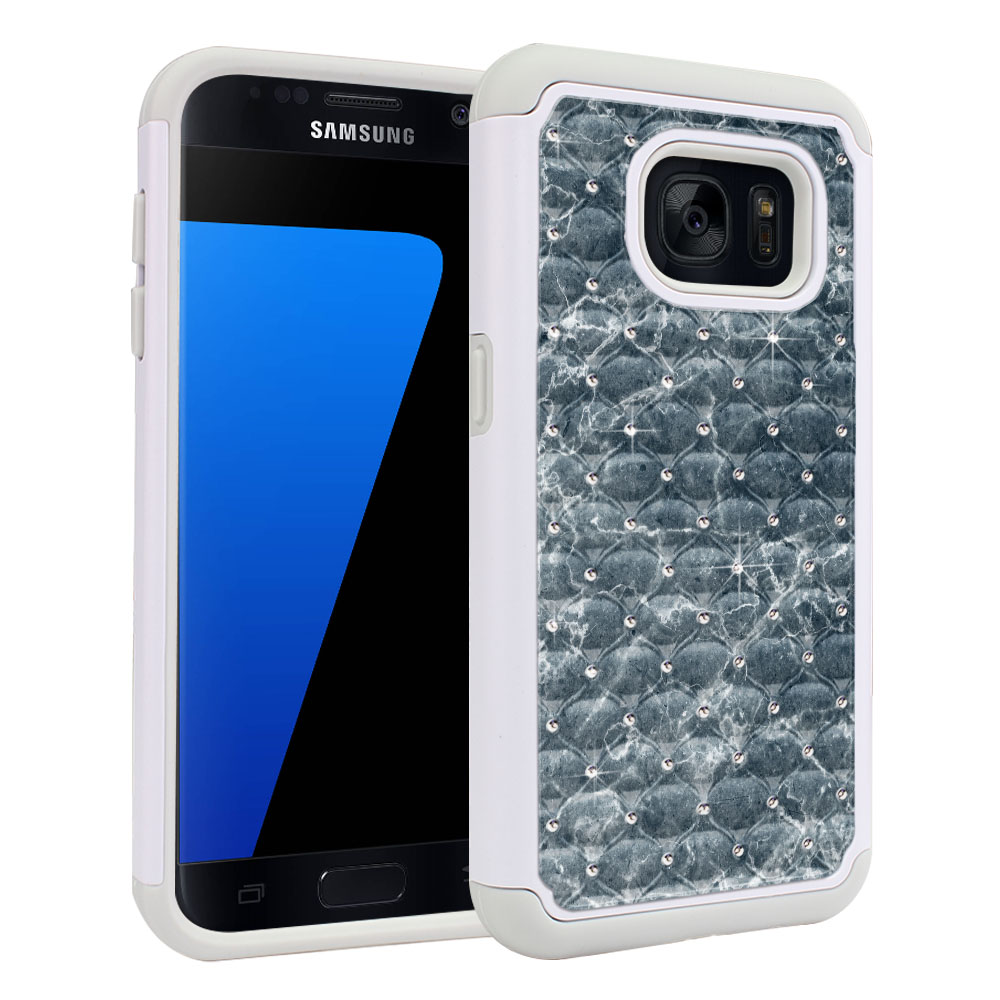Samsung Galaxy S7 G930 White/Grey Hybrid Total Defense Some Rhinestones Blue Stone Marble Protector Cover Case