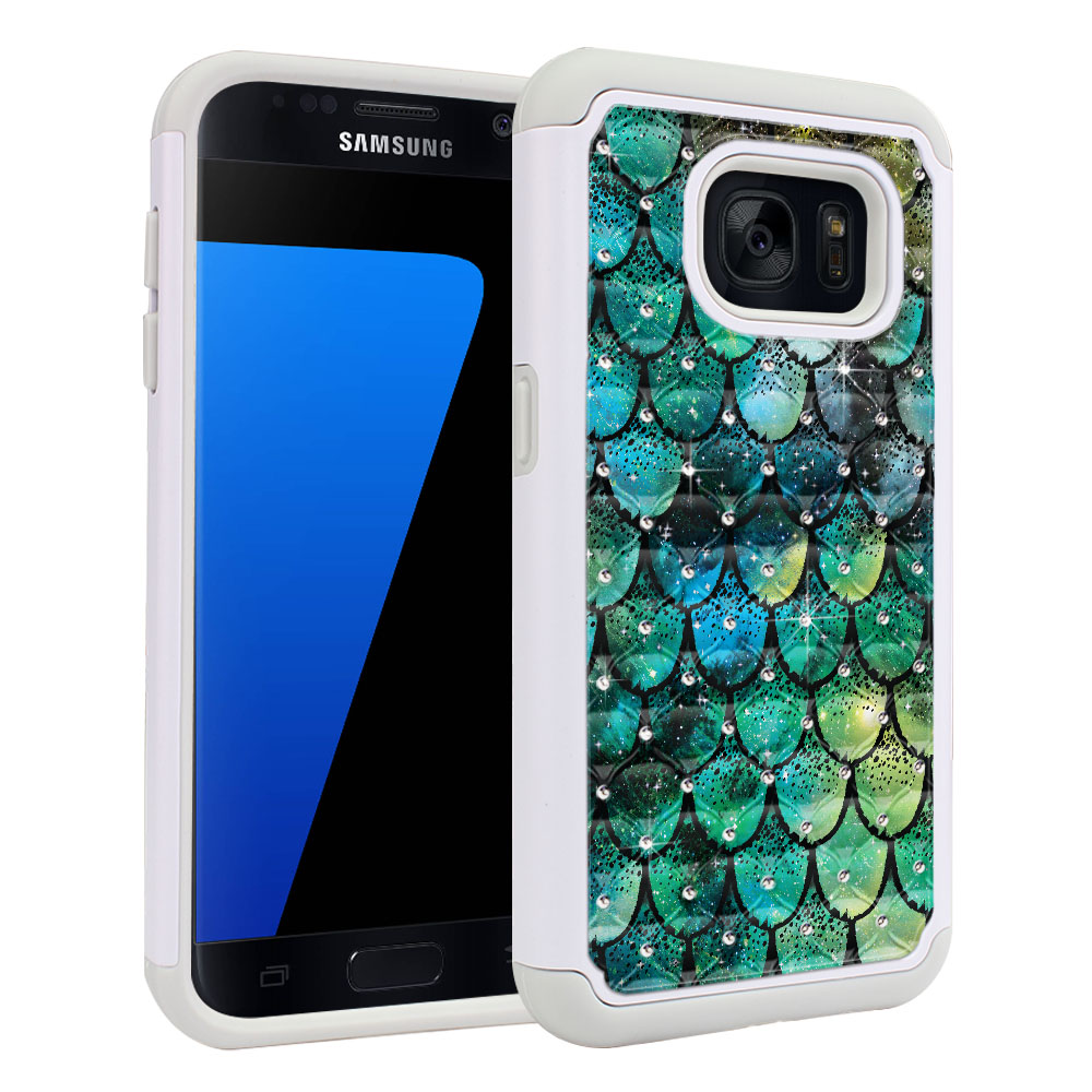 Samsung Galaxy S7 G930 White/Grey Hybrid Total Defense Some Rhinestones Green Mermaid Scales Protector Cover Case