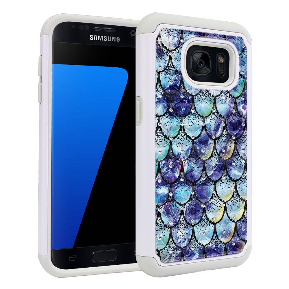 Samsung Galaxy S7 G930 White/Grey Hybrid Total Defense Some Rhinestones Purple Mermaid Scales Protector Cover Case