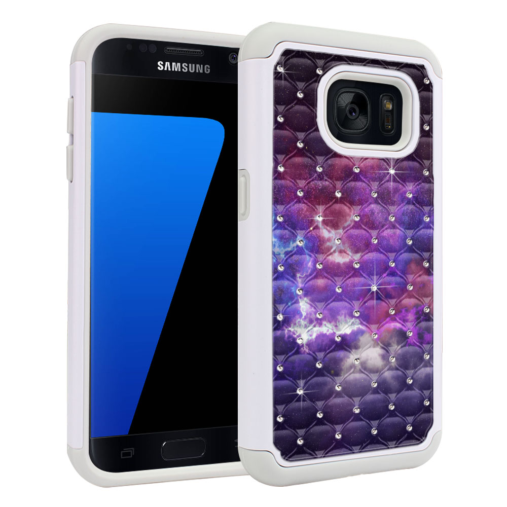 Samsung Galaxy S7 G930 White/Grey Hybrid Total Defense Some Rhinestones Purple Nebula Space Protector Cover Case