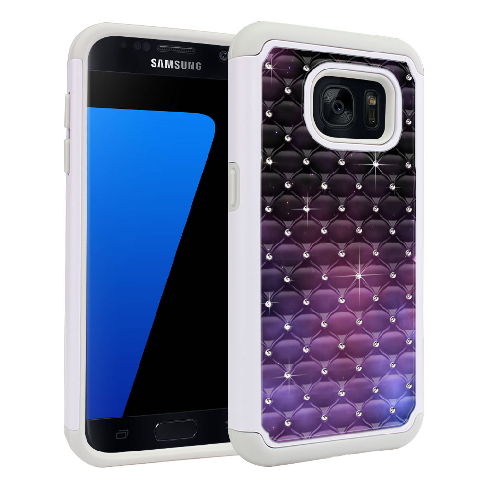 Samsung Galaxy S7 G930 White/Grey Hybrid Total Defense Some Rhinestones Purple Space Stars Protector Cover Case