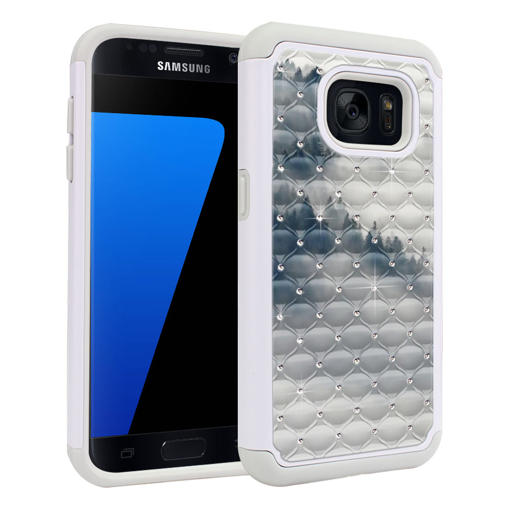 Samsung Galaxy S7 G930 White/Grey Hybrid Total Defense Some Rhinestones Winter Trees Protector Cover Case