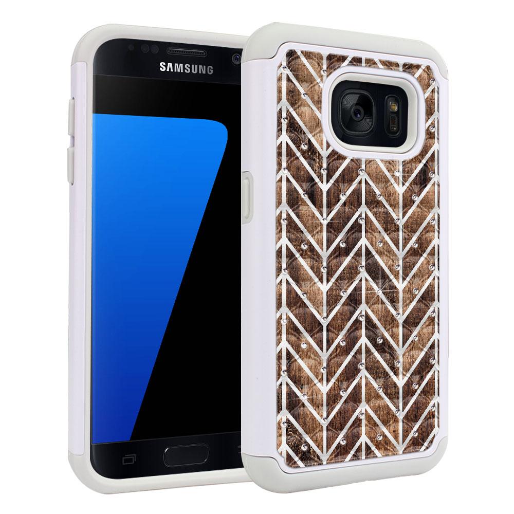 Samsung Galaxy S7 G930 White/Grey Hybrid Total Defense Some Rhinestones Modern Chevron Wood Protector Cover Case