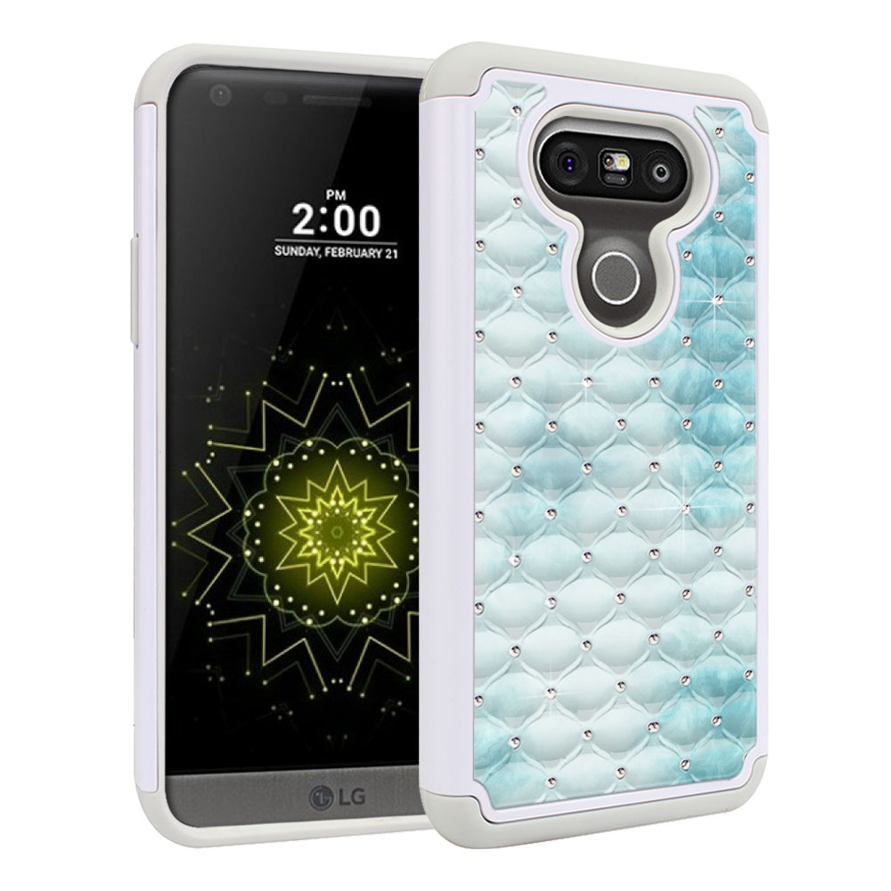 LG G5 H850 VS987 White/Grey Hybrid Total Defense Some Rhinestones Blue Cloudy Marble Protector Cover Case