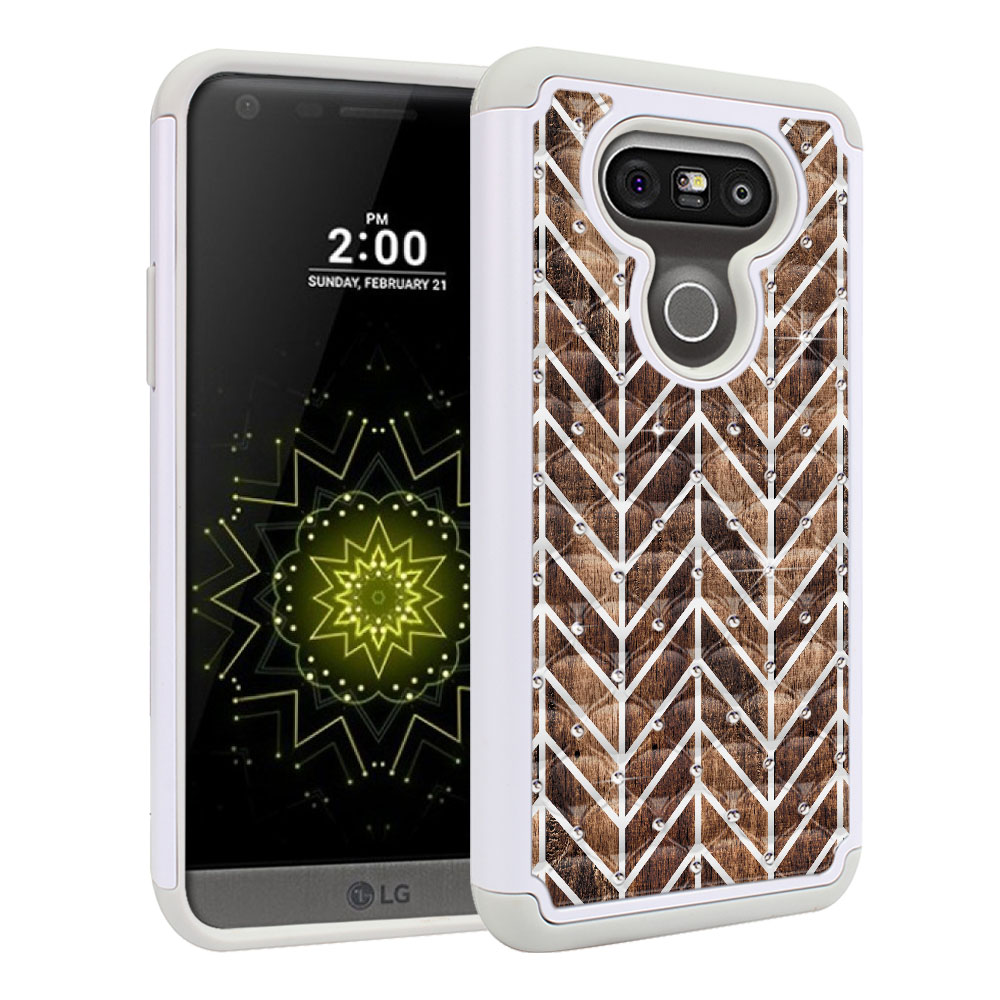 LG G5 H850 VS987 White/Grey Hybrid Total Defense Some Rhinestones Modern Chevron Wood Protector Cover Case