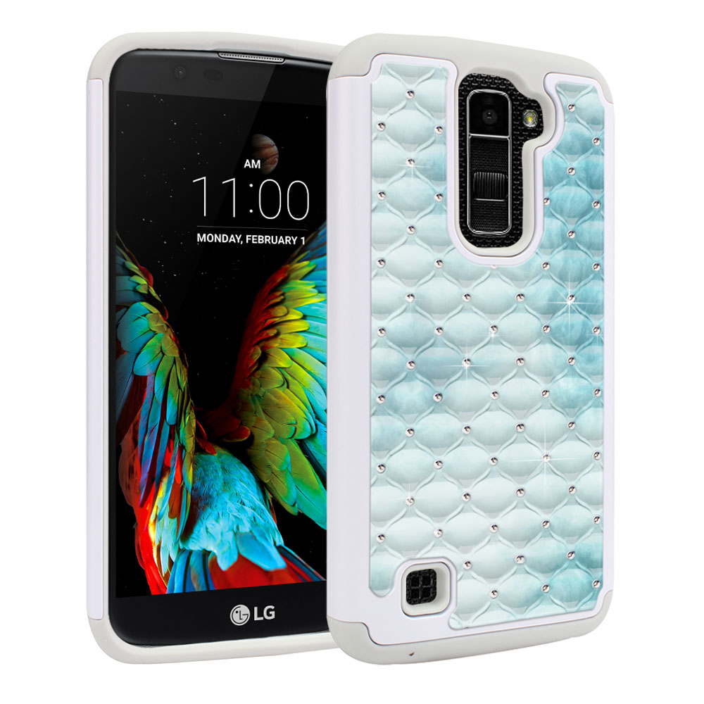 LG K10-LG Premier LTE L62VL L61AL K428 K430 K420 K420N White/Grey Hybrid Total Defense Some Rhinestones Blue Cloudy Marble Protector Cover Case
