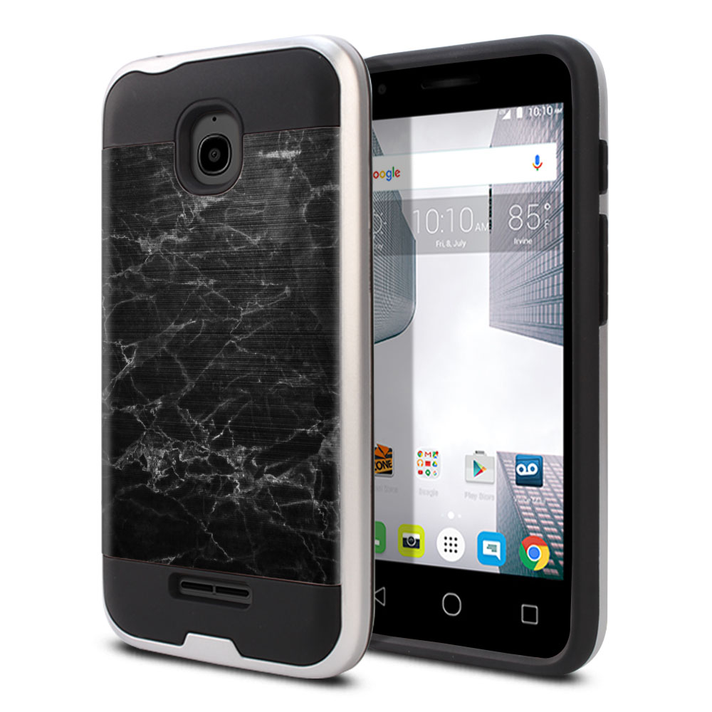 Alcatel Dawn 5027/ Acquire/ Streak/ Ideal 4060A Hybrid Fusion Brushed Black Stone Marble Protector Cover Case