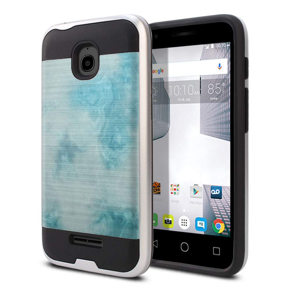 Alcatel Dawn 5027/ Acquire/ Streak/ Ideal 4060A Hybrid Fusion Brushed Blue Cloudy Marble Protector Cover Case