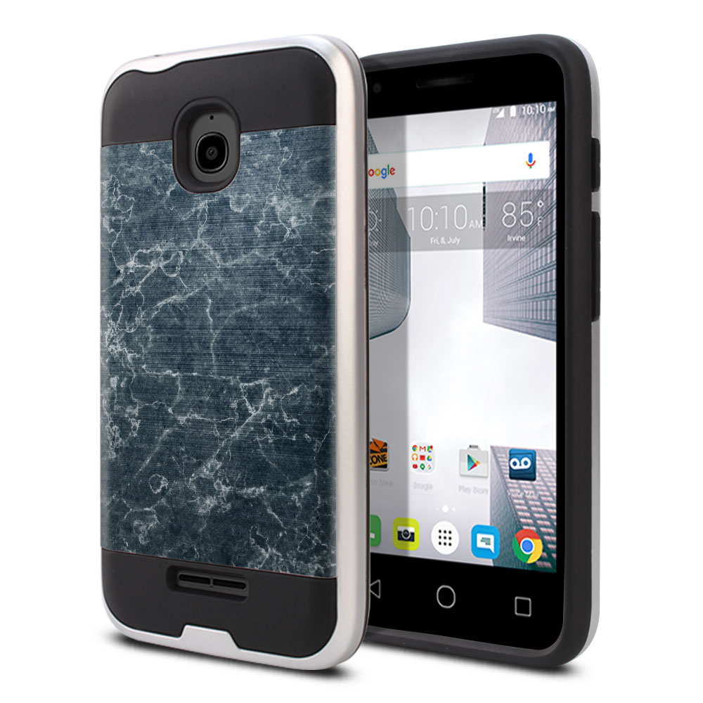 Alcatel Dawn 5027/ Acquire/ Streak/ Ideal 4060A Hybrid Fusion Brushed Blue Stone Marble Protector Cover Case