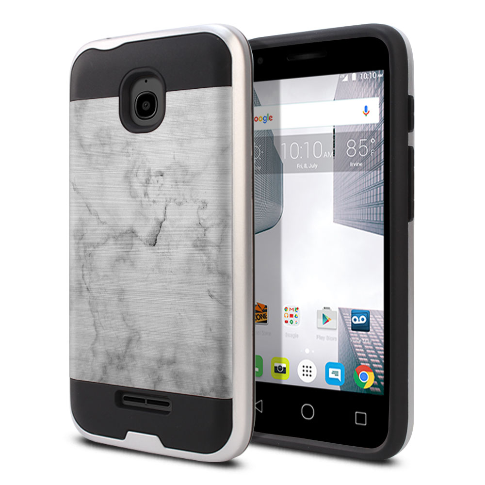 Alcatel Dawn 5027/ Acquire/ Streak/ Ideal 4060A Hybrid Fusion Brushed Grey Cloudy Marble Protector Cover Case