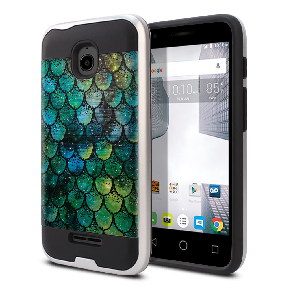 Alcatel Dawn 5027/ Acquire/ Streak/ Ideal 4060A Hybrid Fusion Brushed Green Mermaid Scales Protector Cover Case