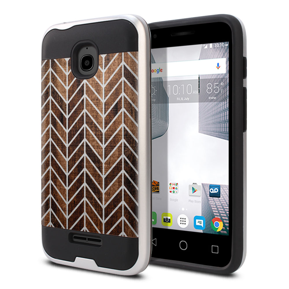 Alcatel Dawn 5027/ Acquire/ Streak/ Ideal 4060A Hybrid Fusion Brushed Modern Chevron Wood Protector Cover Case