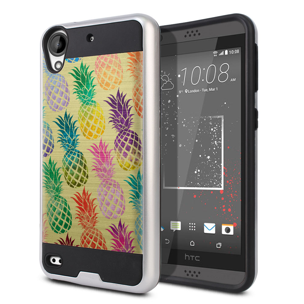 HTC Desire 530 630 Hybrid Fusion Brushed Pastel Colorful Pineapple Yellow Pastel Protector Cover Case