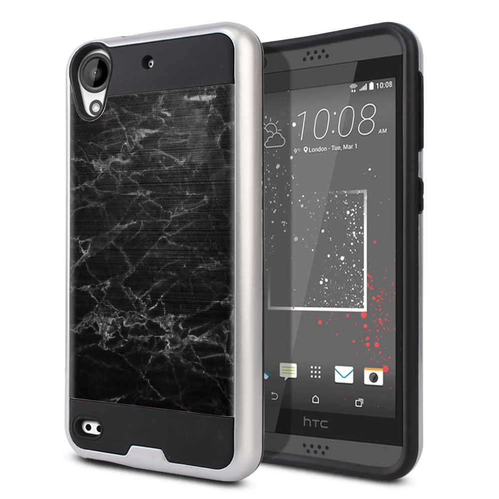 HTC Desire 530 630 Hybrid Fusion Brushed Black Stone Marble Protector Cover Case