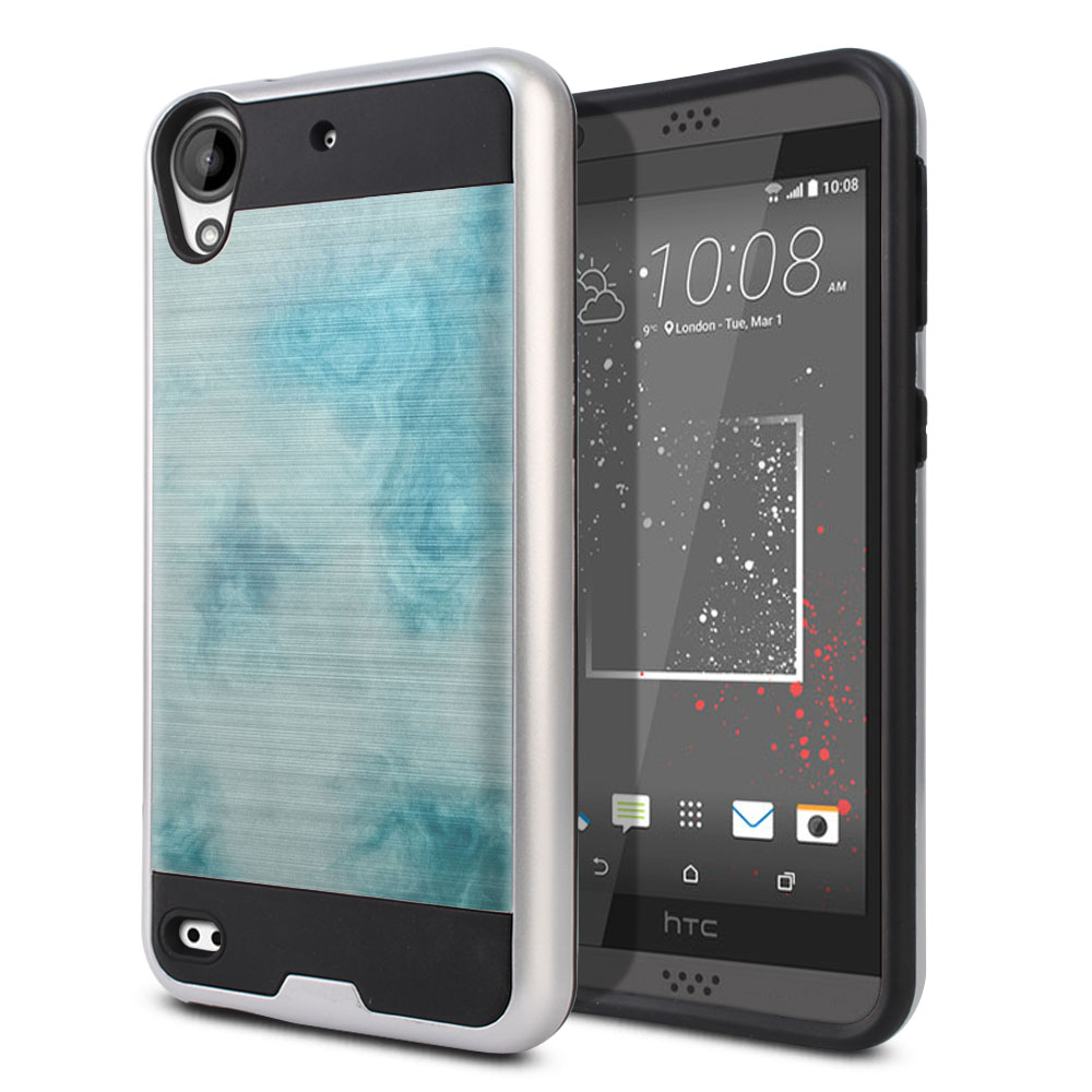 HTC Desire 530 630 Hybrid Fusion Brushed Blue Cloudy Marble Protector Cover Case
