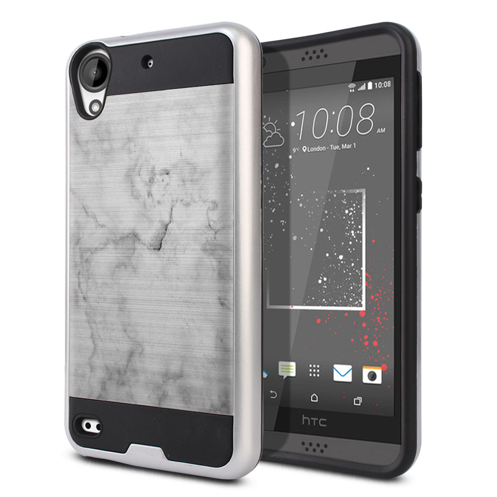 HTC Desire 530 630 Hybrid Fusion Brushed Grey Cloudy Marble Protector Cover Case
