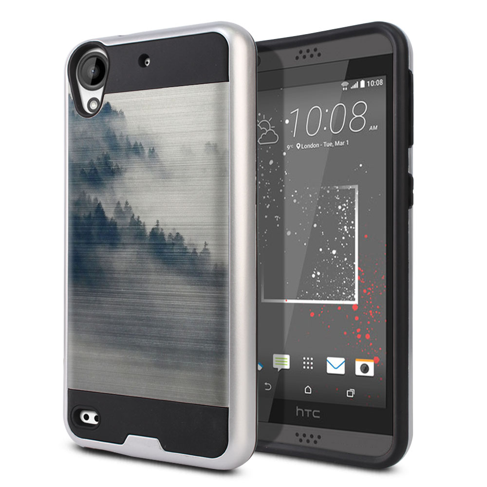 HTC Desire 530 630 Hybrid Fusion Brushed Winter Trees Protector Cover Case