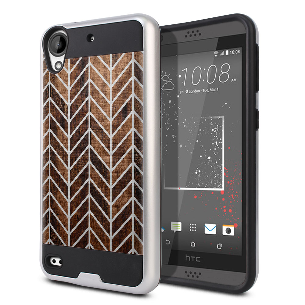 HTC Desire 530 630 Hybrid Fusion Brushed Modern Chevron Wood Protector Cover Case
