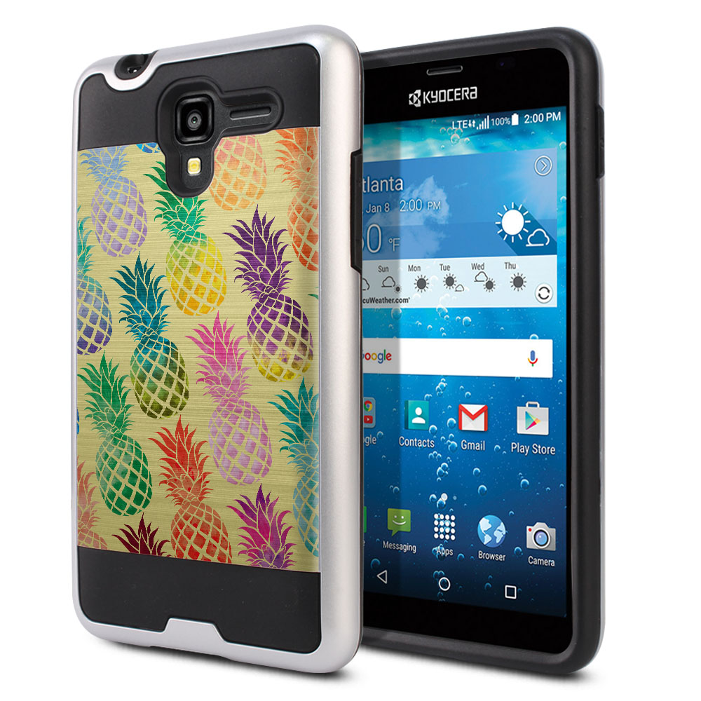 Kyocera Hydro View C6742 Hybrid Fusion Brushed Pastel Colorful Pineapple Yellow Pastel Protector Cover Case