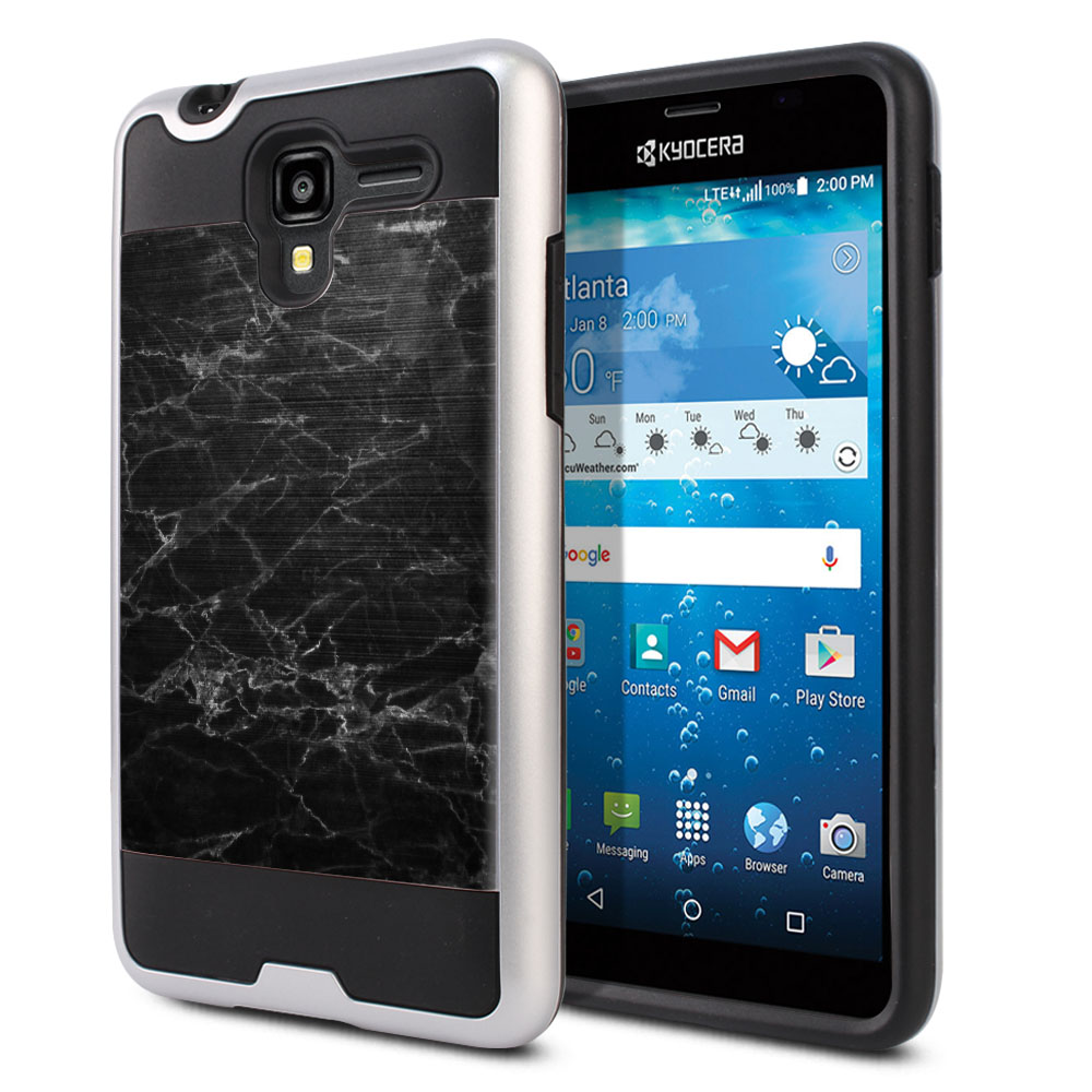 Kyocera Hydro View C6742 Hybrid Fusion Brushed Black Stone Marble Protector Cover Case