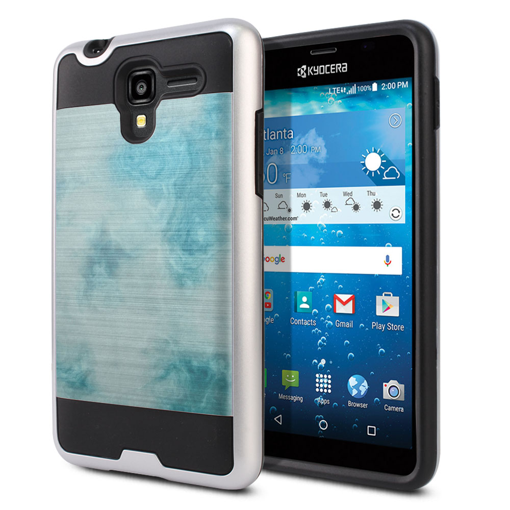 Kyocera Hydro View C6742 Hybrid Fusion Brushed Blue Cloudy Marble Protector Cover Case