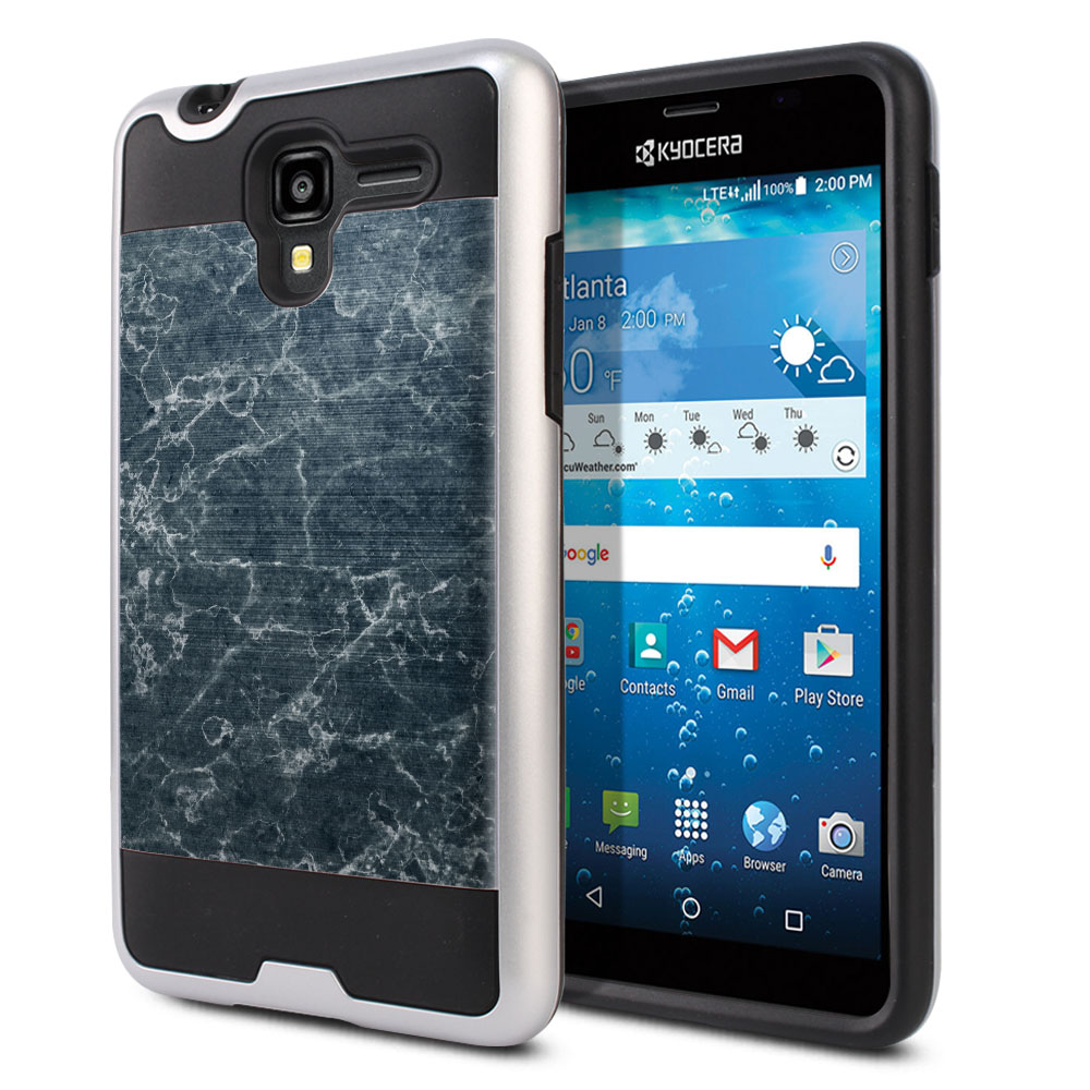 Kyocera Hydro View C6742 Hybrid Fusion Brushed Blue Stone Marble Protector Cover Case