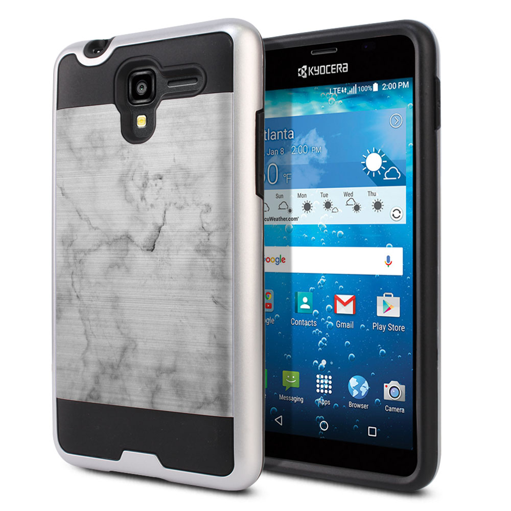 Kyocera Hydro View C6742 Hybrid Fusion Brushed Grey Cloudy Marble Protector Cover Case